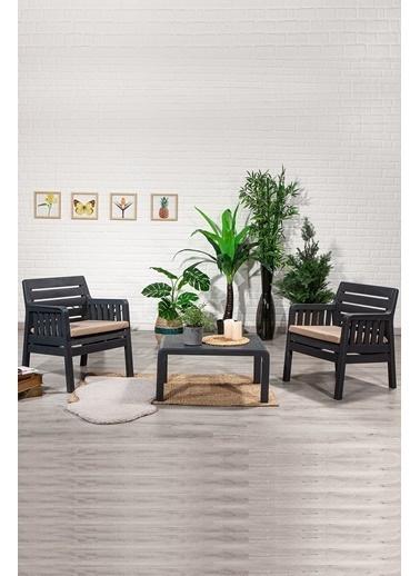 Sandalie Lara 1+1+S Balkon&Teras&Bahçe Mobilyası / Antrasit Antrasit
